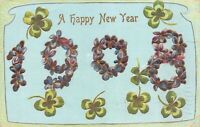 New Year Postcard Large Letter 1908 Four Leaf Clover Forget Me Not Flower~125492