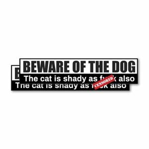 2X Beware Of Dog Cat Sticker Decal Funny Joke Luggage Rude Silly Car Laptop