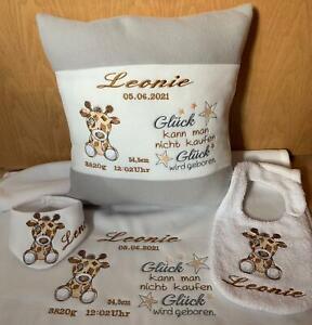 Babydecke mit Namen + Giraffe oder Kissen, Halstuch, viele Farben Geburt Taufe