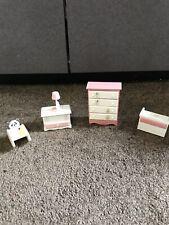 lot Mini Doll House Wood Nursery Furniture Dresser Changing table rocking white