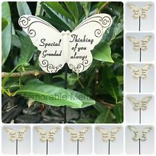 Memorial Butterfly Stick Plaque Tribute Spike Graveside Stake Remembrance Marker