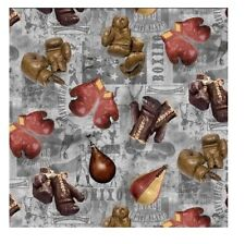 Sports Fabric - Vintage Boxing Gloves on Blue Patch - Timeless Treasures YARD