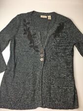 DKNY Women's 3 Button Embroidered Sweater Cardigan Grey XL EUC