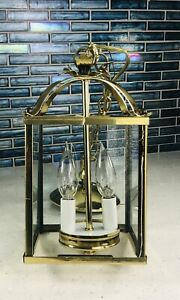 Vintage Brass, Beveled Glass Chandelier Hanging 2 Lamp, Lantern Foyer Outdoor