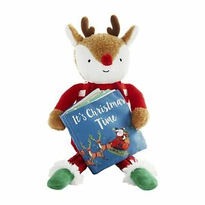 """Mud Pie H1 Baby Kids Christmas 8.75"""" Reindeer Plush Toy With Book 12110295R"""