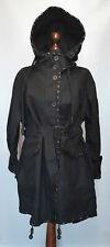 Burberry Prorsum Linen Parka Belted Hooded Womens Size L-XL Color Black