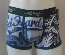 Ed Hardy Men's Bald Eagle Premium Cotton Stretch Trunks Color Teal Size M New