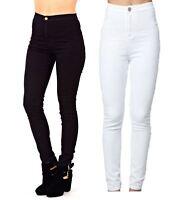 New Womens Ladies Skinny Slim Fit High Waisted Stretch Denim Black Jeans Trouser