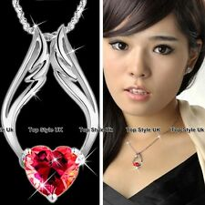 Ruby & Angel Wings Silver Necklace Women Girlfriend Gifts for Her Wife Mum J227