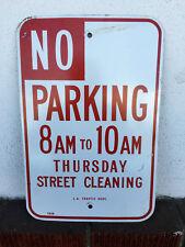 Vintage Metal Red Lettering NO PARKING Parking Los Angeles Street Sign