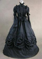 Lolita Women Victorian Black Bow Dress Vintage Reenactment Slim Ball Gown Dress