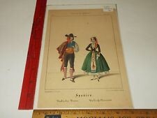 Rare Antique Spain Spanien Costumes Winckelmann Sohne Hand Color Litho Print