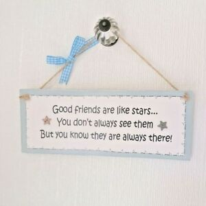 Handmade Wooden Hanging Plaque  - Good Friends Are Like Stars