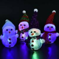 Christmas Snowman Santa Figurines LED Colour Changing Xmas Table Decorations