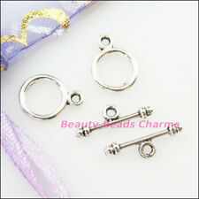 30Sets Tibetan Silver Tone Smooth Circle Bracelet Toggle Clasps Connectors