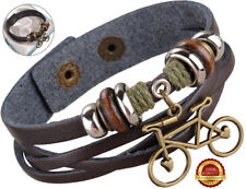 Genuine Surf Leather Bracelet Mens Wristband Bicycle Design Bronze Button Brown