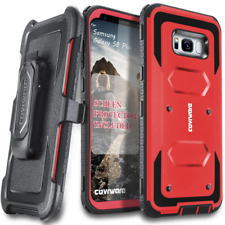 Samsung Galaxy S8 Plus Full Body Cover Case With Screen Protector Belt Clip Red
