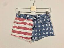 Bullhead Denim Co Woman Jeans Short Pant Hi Rise Cut Off Cotton USA Flag Sz 24