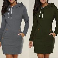 Women Long Sleeve Sweatshirt Ladies Sweater Hoodie Jumper Winter Dress Plus 8-24