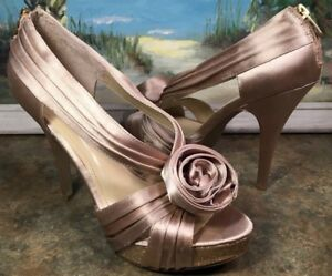 Enzo Angiolini Formal Shoe Stiletto Heel Gold Satan Sparkles 8.5M