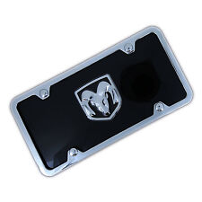 Dodge Ram 3D Logo On Black License Plate + Frame