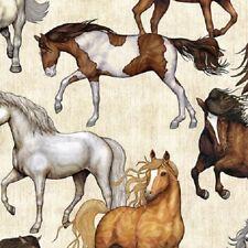 Mustang Sunset cotton quilt fabric Quilting Treasures Horses on Cream