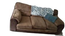 Brown Fabric 3 Seater Sofa And Chair