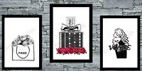 Set of 3 Fashion Wall Art Prints Black Home Dressing Room Salon Bedroom Poster