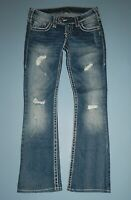 Silver Tuesday Thick Stitch Destroyed Dark Wash Jeans Tag W25 L31 -  Act W28 L30