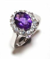 925 Sterling Silver Natural Amethyst & Cz Gem Stone Rings Jewelery Us Size 6,7,8