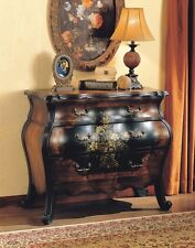 Bombay Dresser Chest of Drawers Bombe Two-Tone Bedroom Black & Oak Finish Table