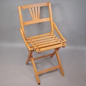 Small Antique Wood Folding Chair Made in Czekoslovakia