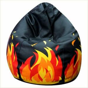 Black Bean Bag Cover Printed Leather xxxl bean bag  (Without Beans) Home decor