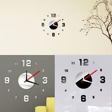 Moderne DIY Wanduhr 3D-Spiegel-Oberflächen-Aufkleber Home Office Decor NEU