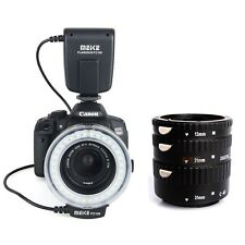 Meike Auto Focus Macro Extension Tube + MK-FC-100 LED Ring Flash Light for Canon