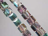 30pcs 6mm Cube Square Faceted Crystal Glass Charms Loose Beads Rose Red Green