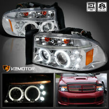 97-04 Dakota 1998-2003 Dodge Durango LED DRL Halo Projector Headlights Pair