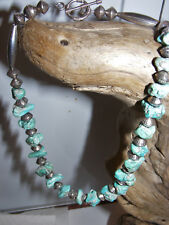 NAVAJO Pearl NECKLACE Turquoise NUGGETS Sterling Silver Bench Beads & Flute Pawn