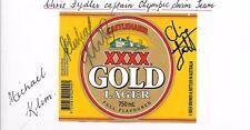 Chris Fydler & Michael Klim - Olympic Gold Medal -Signed Beer Label- Xxxx Gold