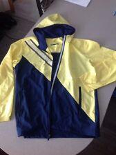 Women's Adidas - Climaproof Hooded Windbreaker - Navy & Yellow - Size Large