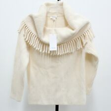 Faconnable NWT Wool Angora Blend Cowl Neck Fringe Sweater Size XS MSRP $595