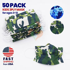 [50 PACK] SEALED Kids Disposable Face Mask 3 Ply Non-Medical Child-CAMOUFLAGE