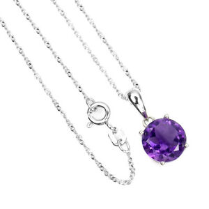 Unheated Round Amethyst 9mm 14K White Gold Plate 925 Sterling Silver Necklace 18