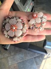 PEARL & ROSE QUARTZ HANDMADE ARTISAN CONTEMPORARY FLOWER PINS PAIR STERLING