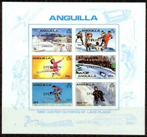 ANGUILLA-1980  - LAKE PLACID OLYMPICS SPECIMEN OVPT S/S - VF**