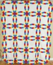 AMAZING Vintage 30s Double Wedding Ring Antique Quilt Top ~SOLID RAINBOW COLORS!