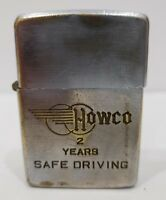 "Vintage 1937-1950 ZIPPO Lighter Pat. 2032695 ""HAWCO 2 YEARS SAFE DRIVING"" LOGO"