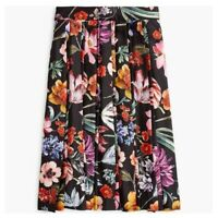 NWT J Crew Pleated A-Line Midi Skirt in Black Midnight Dutch Floral Sz 2 $128