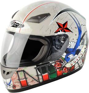 Nitro Tattoo Full Face Street Helmet, Pearl White or Black/Red, DOT, New, Sale!
