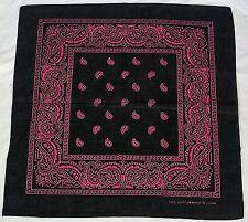 New Unisex 100% Cotton Bandana/Head Wrap/Scarf, Black/Pink Paisley